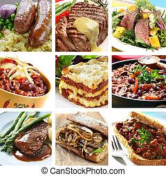 collage, repas, boeuf
