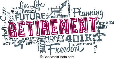 collage, retraite, planification, mot