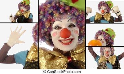 collage, rigolote, clown
