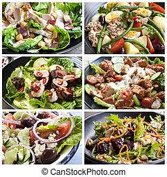 collage, salades, nourriture