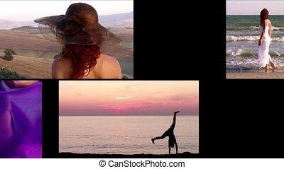 collage, vacances, femmes