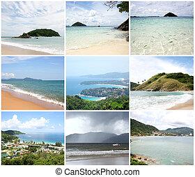 collage, -, vue, point, karon, thaïlande, patong, kata, plages