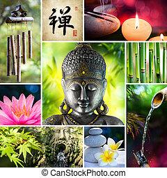 collage, zen, -, asiatique, mosaïque