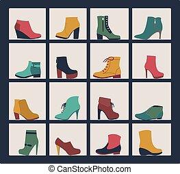 collection, étagères, shop., chaussures