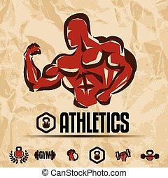 collection, athlétisme, emblèmes, fitness, gymnase, étiquettes, vendange