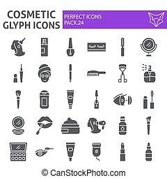 collection, beauté, paquet, ensemble, maquillage, isolé, cosmétique, symboles, solide, vecteur, arrière-plan., pictograms, signes, logo, blanc, icône, croquis, illustrations, glyph