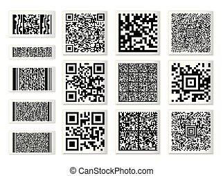 collection, code, aléatoire, qr, barcode, caractères, ensemble