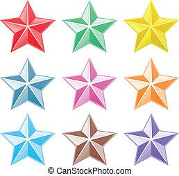 collection, coloré, étoiles