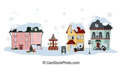 collection, coloré, hiver, maisons