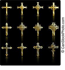collection, doré, conception, croix, religieux