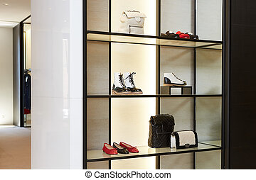 collection, grand, clair, luxe, nouveau, magasin, chaussure