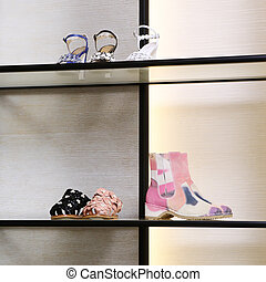 collection., grand, clair, luxe, nouveau, magasin, chaussure