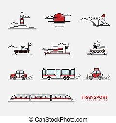 collection, icônes, transport, véhicules, ensemble, signe, vecteur