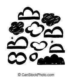 collection, nuage, ensemble, vecteur, hand-drawn, clouds.
