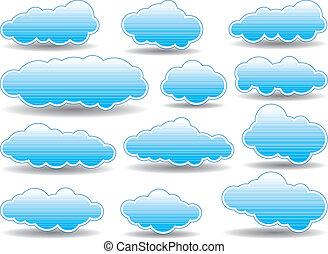collection, nuages, vecteur
