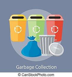 collection, recyclage, boîtes, déchets
