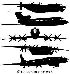 collection, silhouettes., avion, différent