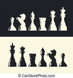 collection., vecteur, morceaux échecs