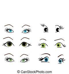 collection, yeux, vecteur, illustration, femme