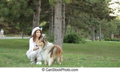 collie., elle, parc, chien, training., girl