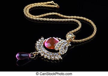 collier, indien, closeup, bijoux