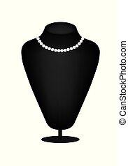 collier, perle, silhouette, mannequin