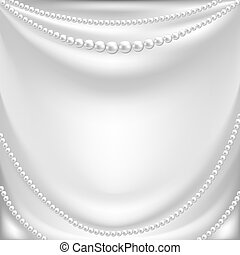 collier, perle, soie, draperie