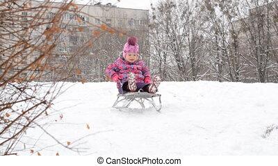 colline, gosse, jouer, enfant, sledging, hiver, sledding, parc