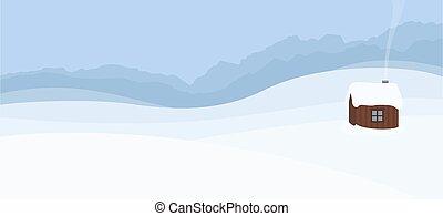 colline, hutte, montagnes, paysage, neigeux, hiver, solitaire