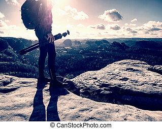 colline, randonnée, marche, montagne, photograper, piste, touriste