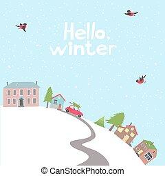 colline, time., hiver, village