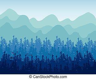 collines, bois, tone., horizontal, résumé, vert, bannières, conifère, sombre