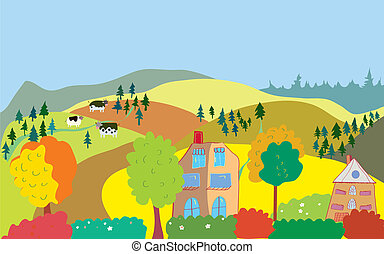 collines, campagne, arbres, maisons, automne, vaches, paysage