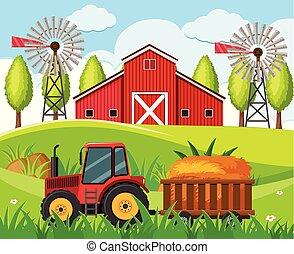 collines, ferme, scène, tracteur rouge, grange