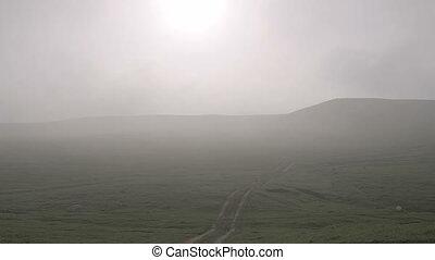 collines, sur, matin, flotter, brume, hd