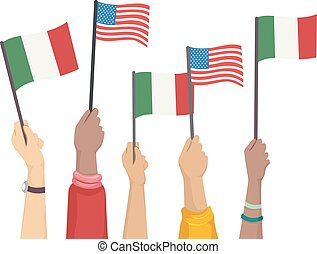 colomb, augmentation, illustration, drapeau, mains, jour