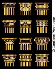 colonne, ancien, architecture, vecteur