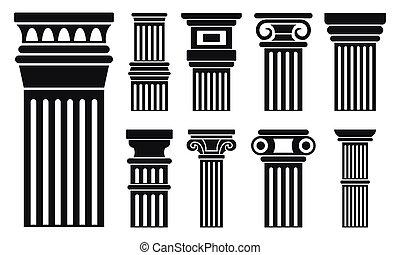 colonne, ensemble, style, simple, icône