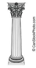 colonne, grec, unique, blanc, isolé