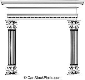 colonne, grec, voûte