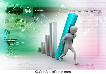 colonne, porter, homme affaires, diagramme, grand, 3d