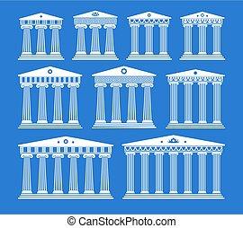 colonnes, ancien, ensemble, architecture, grec, vecteur
