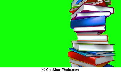 coloré, écran, -, livres, vert, boucle