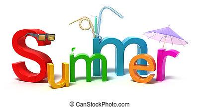 coloré, été, mot, lettres