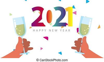 coloré, 2021, nombres, célébration, toast, champagne, année, heureux, nouveau