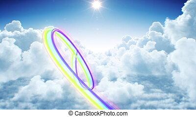 coloré, 3d, écoulement, futuriste, sky., hd, animation, arc-en-ciel, ultra, coup, beau, fait boucle, seamless., vol, par, piste, nuages, ruisseau, 3840x2160, 4k