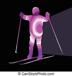 coloré, actif, fond, illustration, ski, concept, silhouette, gosse