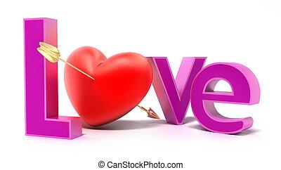 coloré, amour, mot, lettres