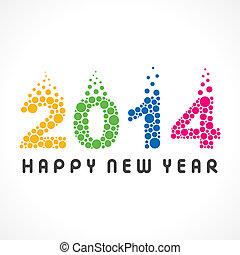 coloré, année, nouveau, 2014, bulle, heureux