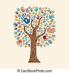coloré, arbre, illustration, main, divers, communauté